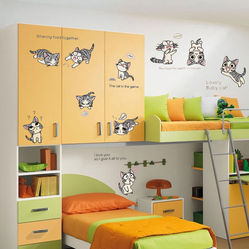 Cheese cat cartoon children's room removable wall stickers living room bedroom background decorative wall stickers stickers stickers wallpaper