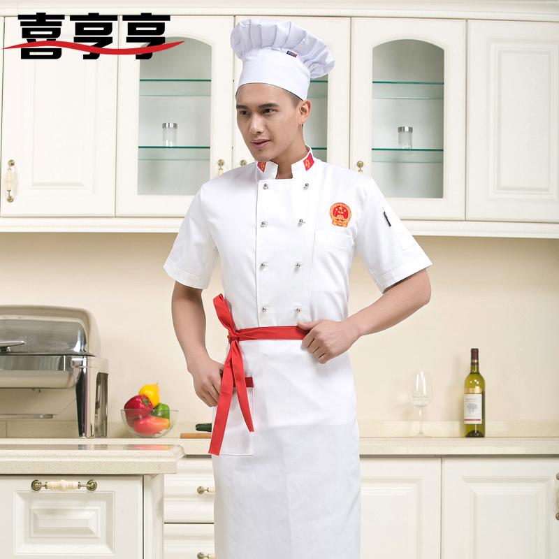 Chef clothing short sleeve summer dress short double-breasted chef clothing chef uniforms chef service hotel chef clothing short sleeve summer