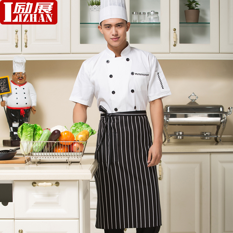 Chef service hotel chef overalls summer short sleeve double-breasted chef clothing chef uniforms chef service hotel restaurant chef clothing short sleeve