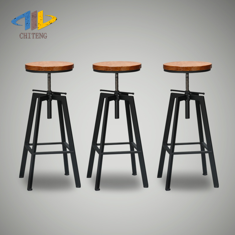 Get Quotations Chek Teng Minimalist Loft Iron Bar Stool Barstool Wood Round
