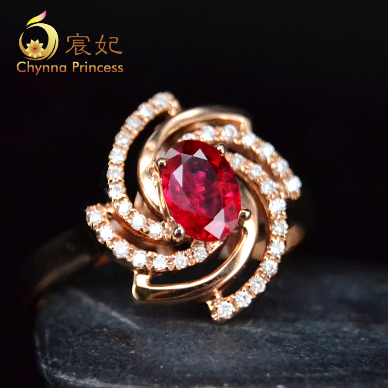 Chen fei jewelry 0.65ct 65ct natural pigeon blood ruby color multicolored k rose gold diamond ring custom