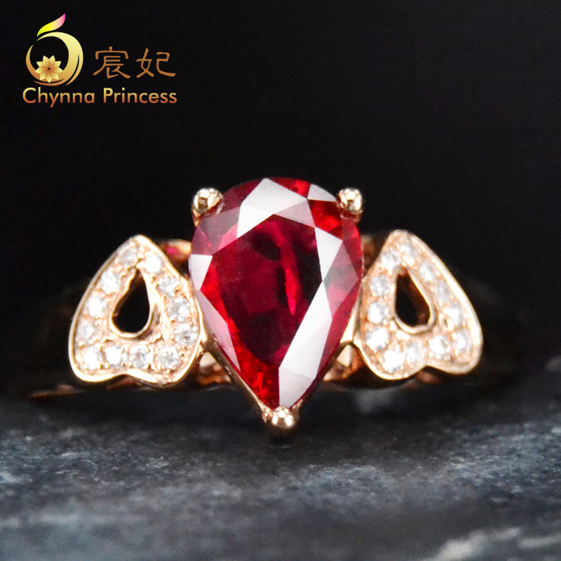 Chen fei jewelry 0.65ct 97ct natural pigeon blood ruby color multicolored k rose gold diamond ring custom