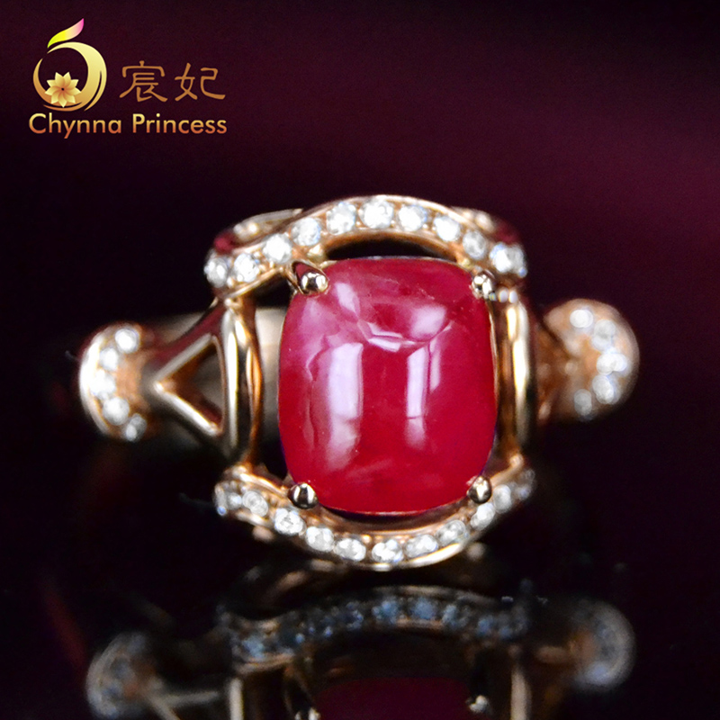 Chen fei jewelry cecectomized 56ct natural color perfect k rose gold diamond ruby ring multicolored custom