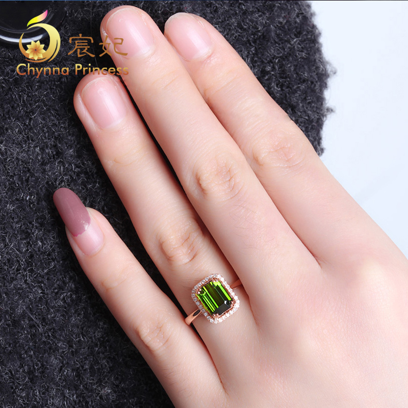 Chen fei jewelry natural colored gemstone green tourmaline ring k rose gold diamond pieces inlaid custom color female treasure jewelry