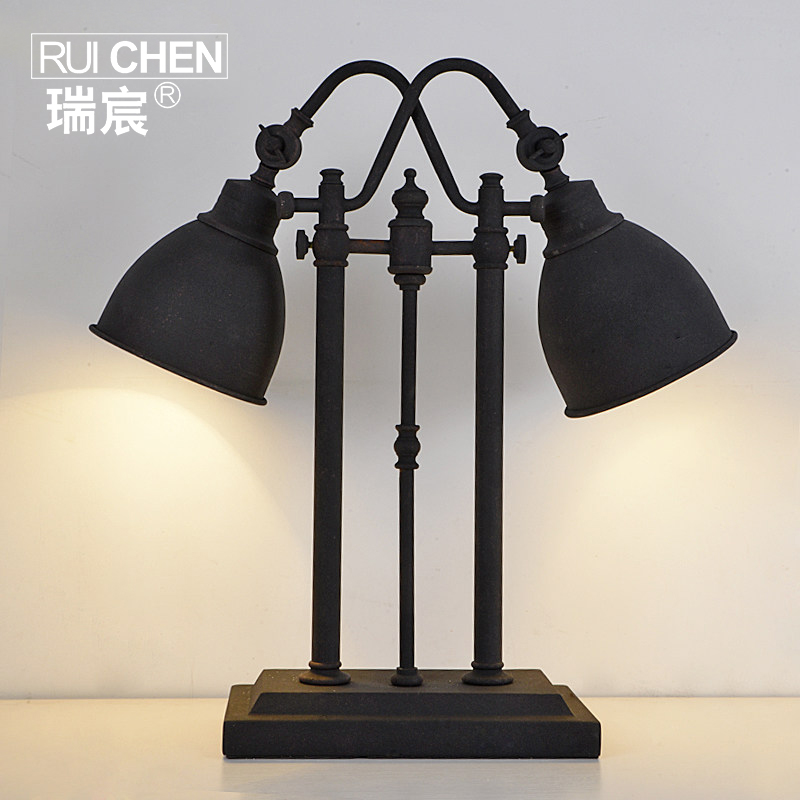 Chen rui american country style retro industrial loft iron headed bedside lamp table lamp living room desk decoration