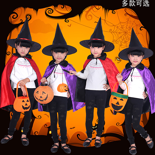 Chen tao children's halloween costume cos performances 130g conjuror sided cape cloak witch cloak + hat