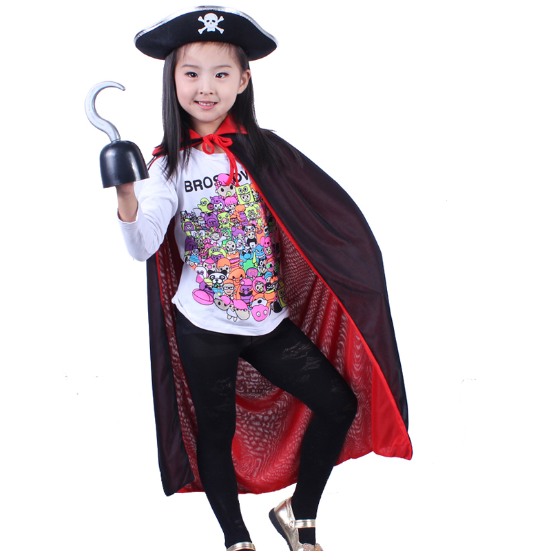 Chen tao halloween costume pirate costume sided collar black and red cloak children cloak cloak cloak witch hat