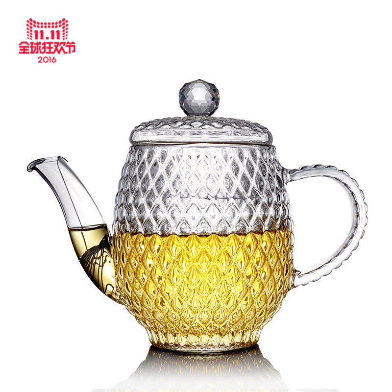 Chen wen thick heat resistant glass teapot with strainer diamondbacks crystal glass transparent flower pot teapot kung fu tea