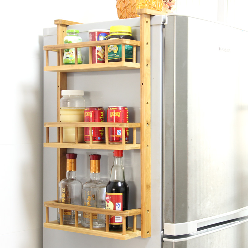 Chen yi gifted bamboo side refrigerator storage rack creative kitchen wall racks seasoning rack spice rack