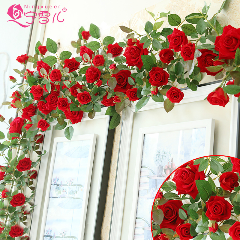Cher rather artificial flowers roses simulation rattan vine flowers artificial flowers decorate the living room decorative artificial flowers pipeline decoration green vine