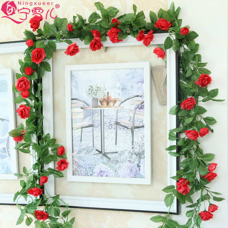 Simulation 33 Roses Rattan Living Room Air Conditioning Duct Indoor Heating Decoration Covering Plastic Fake Flower Vine Artificial & Dried Flowers