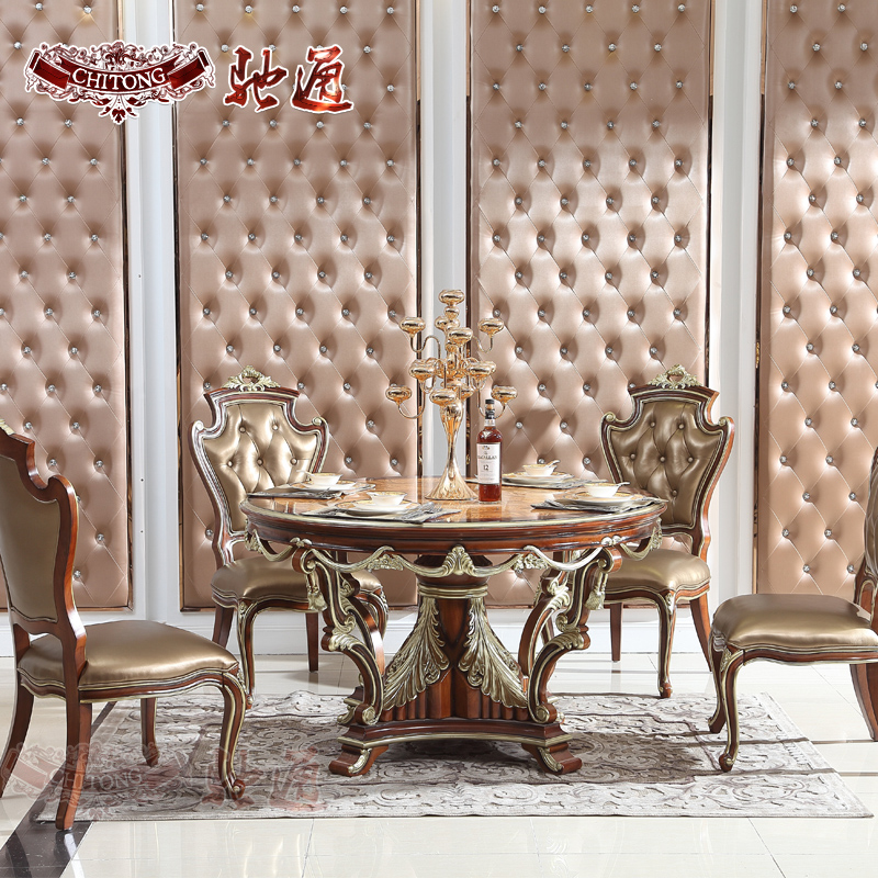 Chi tong neoclassical european furniture wood veneer furniture american restaurant gilt gold round dining table