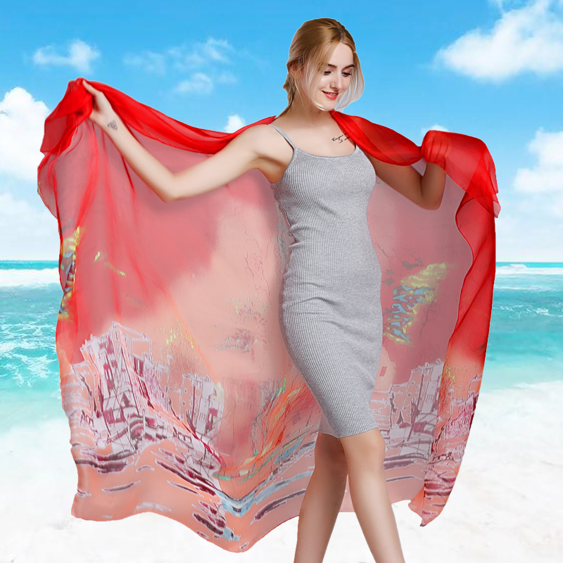 Chiffon scarf ms. spring and autumn long section of wild silk scarves oversized scarf shawl summer sun beach seaside beach towel