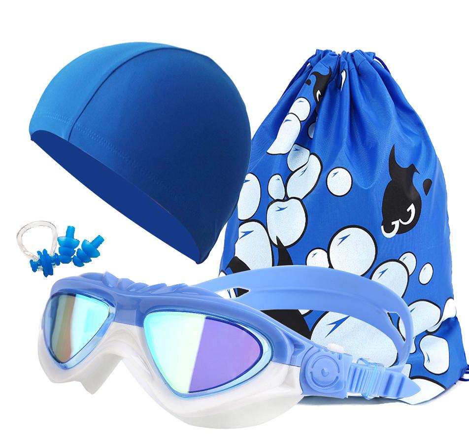 3a331258d46 Children boys and girls swimming goggles fogging plating big box waterproof swimming  goggles swimming cap swimming