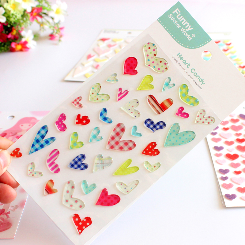 Children diy stickers korea jelly love series of three-dimensional felt funny stickers stickers reward stickers for children