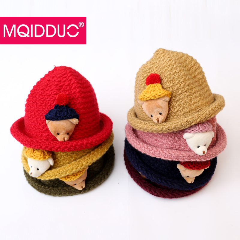 Children hat autumn and winter hat knitted wool hat warm winter hat cartoon bear baby boys and girls sets of headgear