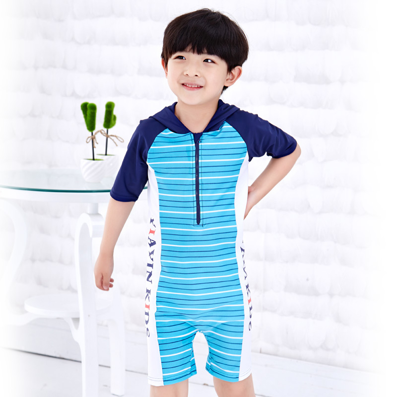 Children piece swimsuit boy swimsuit piece swimsuit sunscreen baby striped swimsuit beach clothes hooded