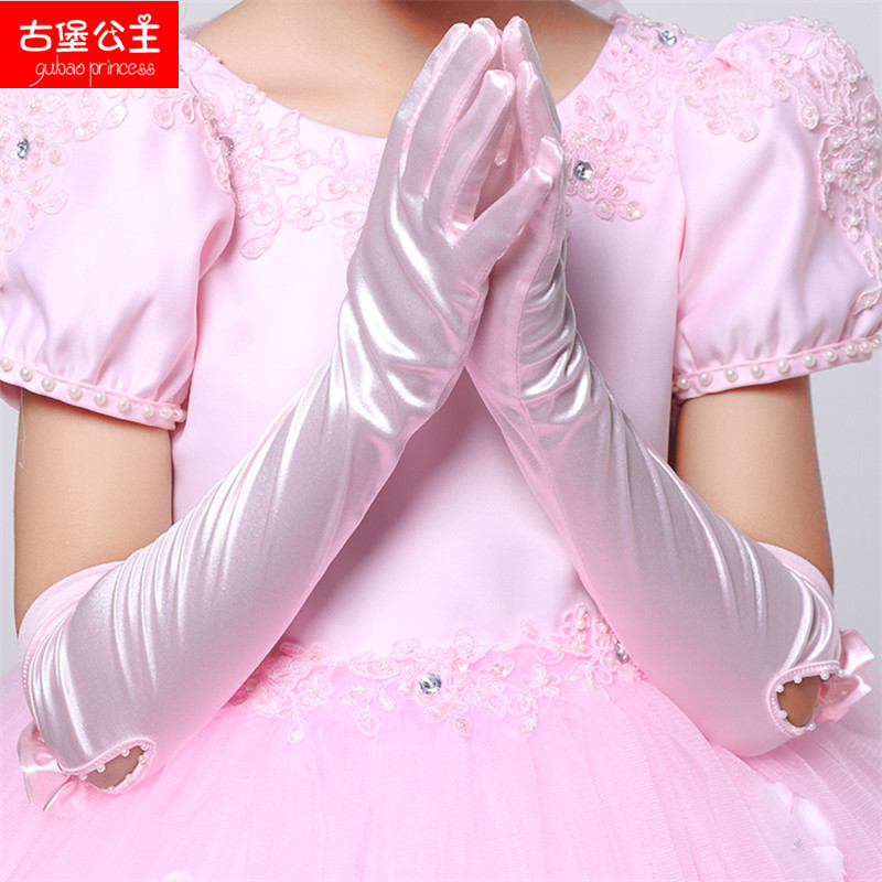 Children princess dress wedding flower girl dresses girls princess long section of white gloves stretch gloves