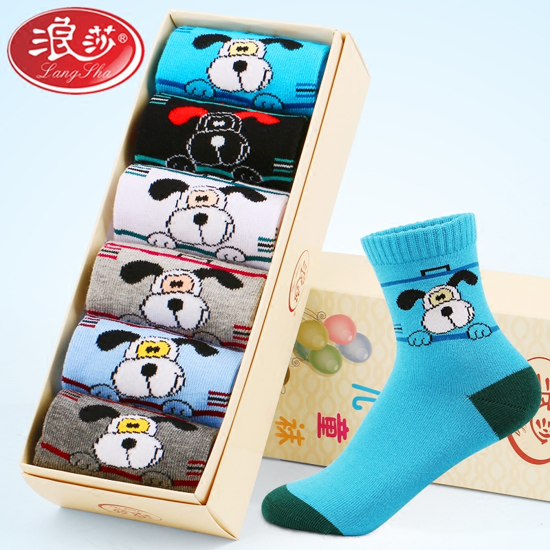 Children socks cotton socks langsha tongwa fall and winter baby socks spring and autumn big virgin boys and girls aged 3-5-7-9
