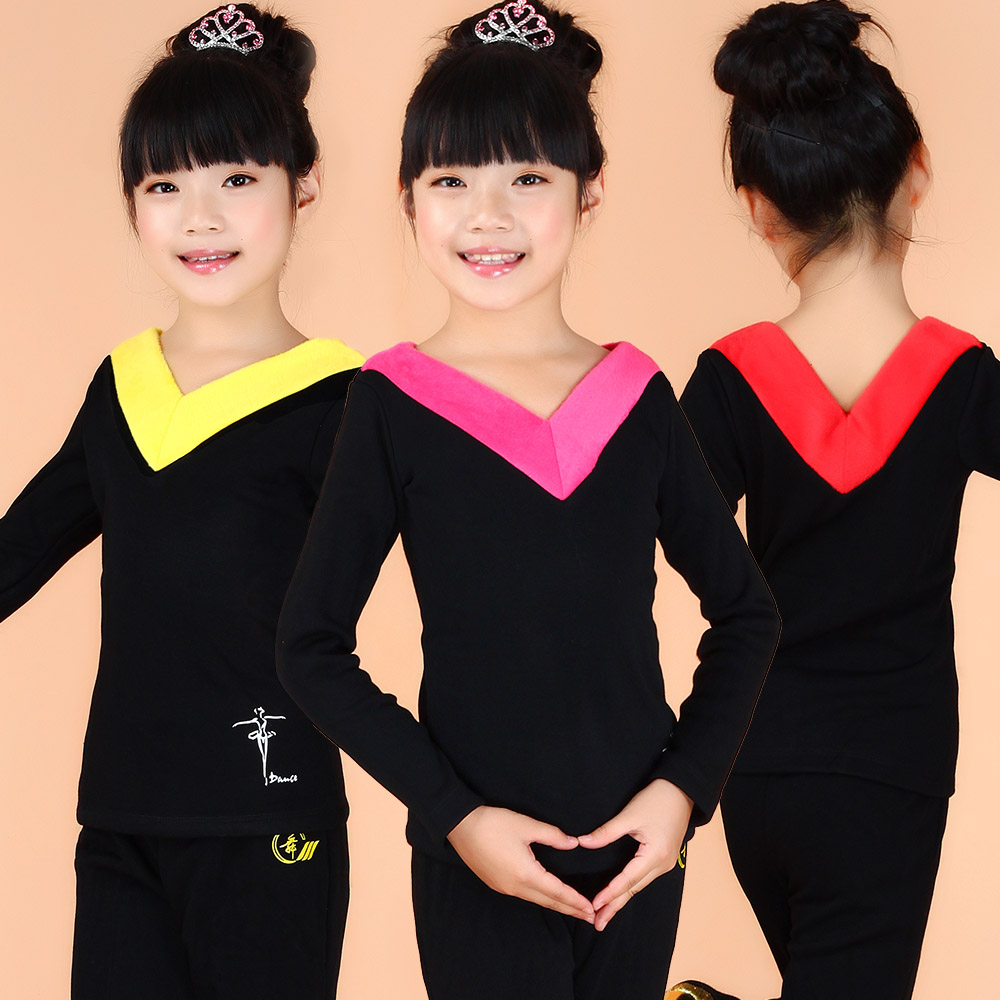 Children's clothes and dance clothes latin dance costume little girls in autumn and spring plus thick velvet children dance clothes suit