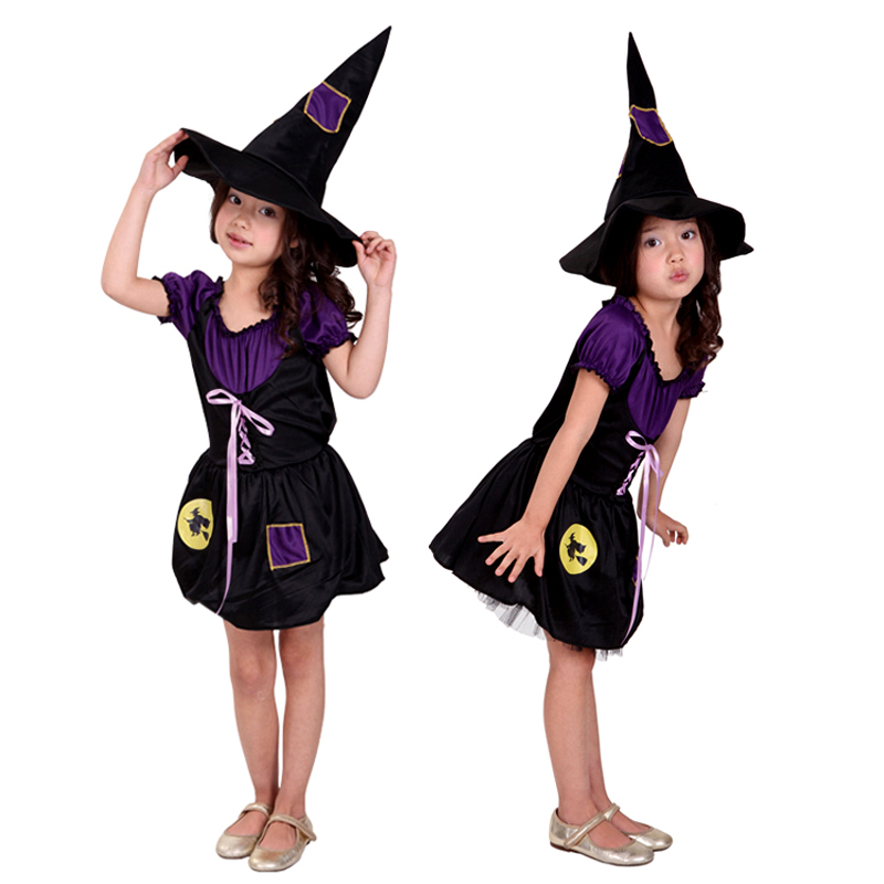 Children's clothing for girls halloween witch costume cosplay masquerade costumes purple black little witch dress