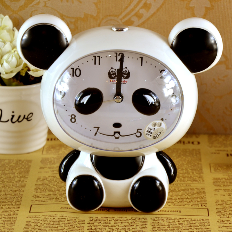 Children's creative students cubs talking alarm clock cartoon alarm clock cute mute bedside clock electronic clock free shipping