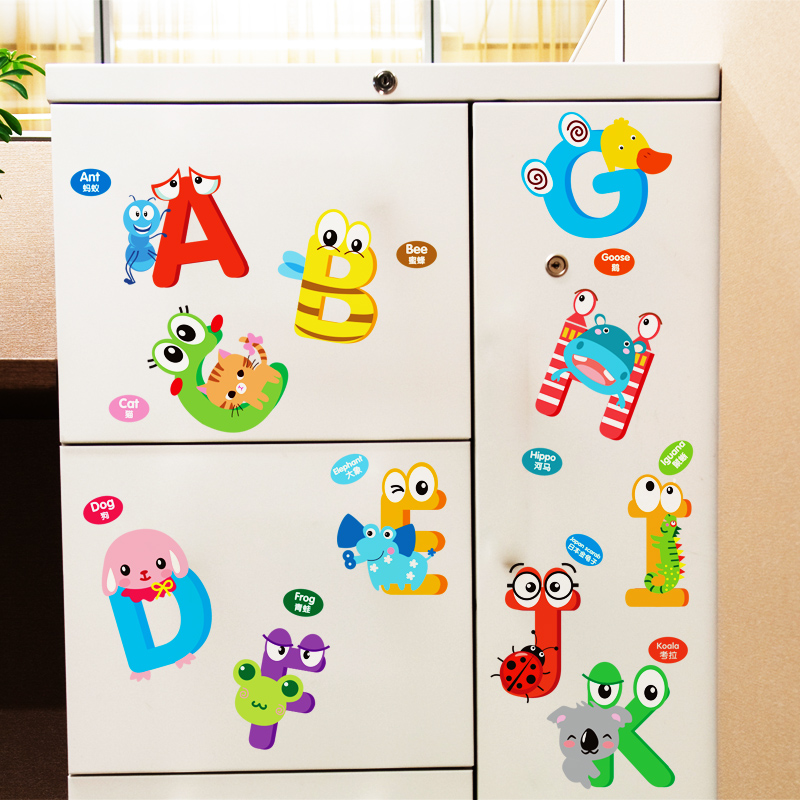 Children's room bedroom wall stickers cute cartoon animal baby early childhood classroom alphabetical puzzle infants and young children park