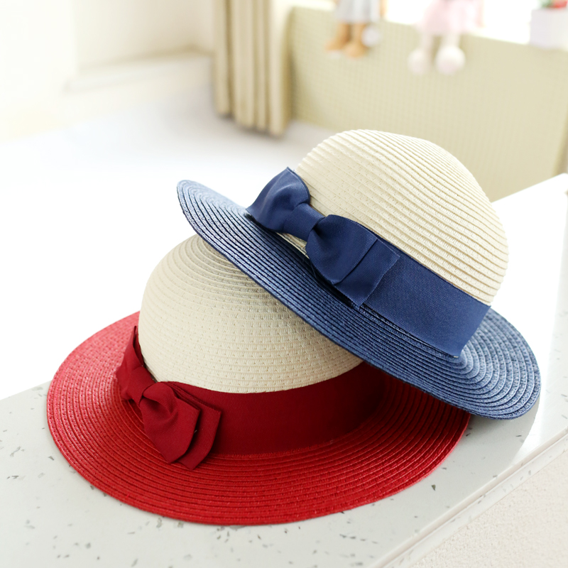 Get Quotations · Children s sun hat korean girls bow large brimmed straw hat  straw hat hat baby hat girls b58ae183c130
