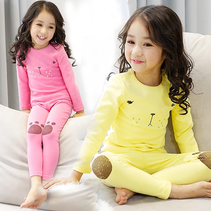 Children's underwear suit girls qiuyiqiuku suit autumn and winter thick cotton thermal underwear baby pajamas 8013