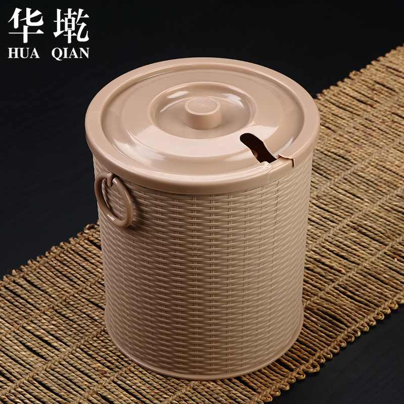 China墘rattan tea tea leaves bucket bucket plastic bucket with lid detong waste barrel tea leaves tea tray tea accessories tea ceremony with zero