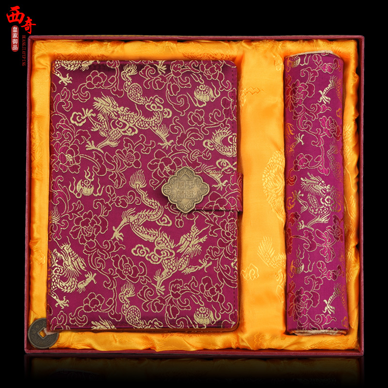 China wind gifts nanjing yunjin brocade notebook mouse pad kit features arts and crafts gifts to send foreigners abroad