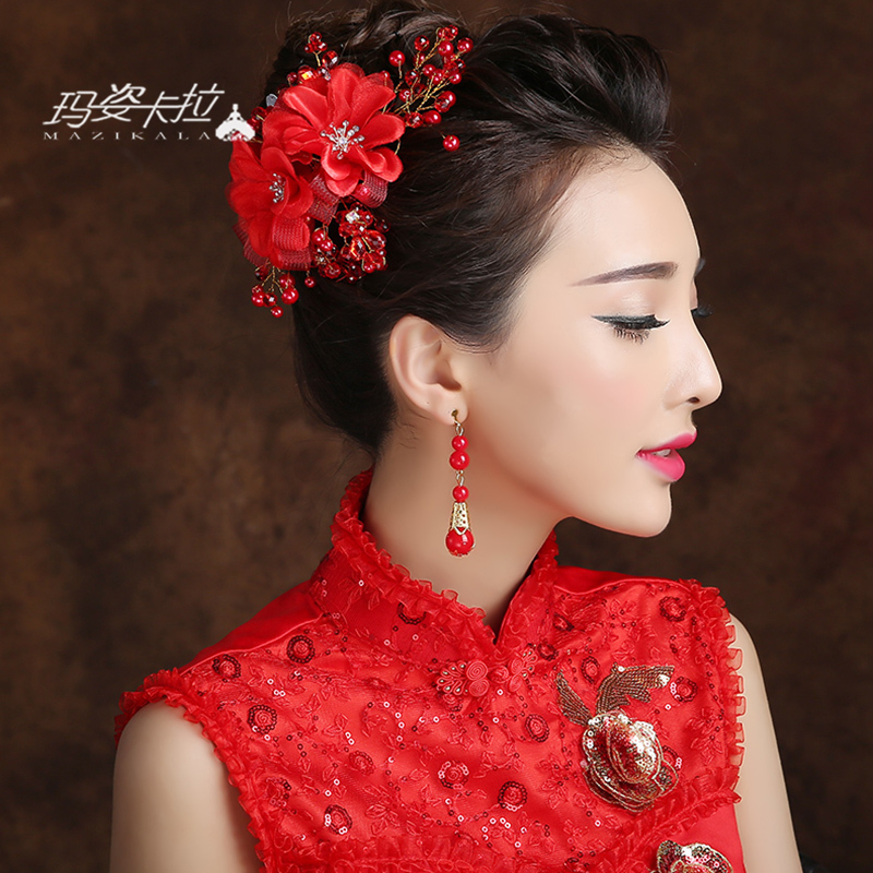 Chinese bride headdress red flower red flower head flower hair accessories wedding jewelry wedding dress accessories