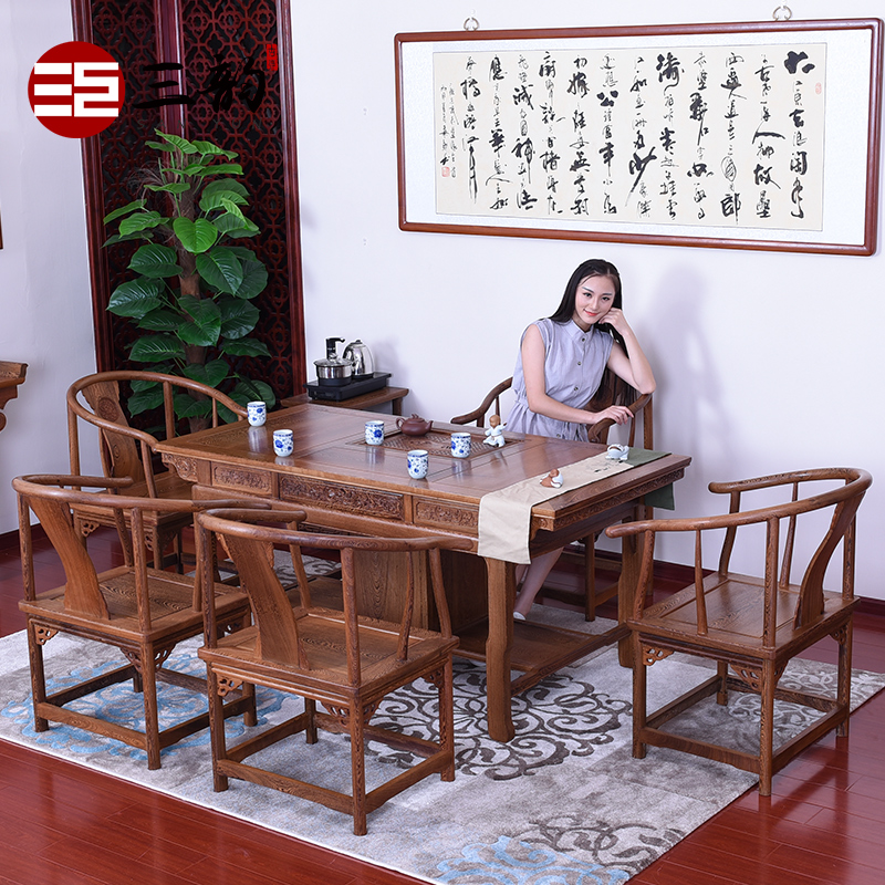 Chinese classical mahogany furniture wood furniture wenge wood furniture mahogany tea table wenge wood tea table with cabinet