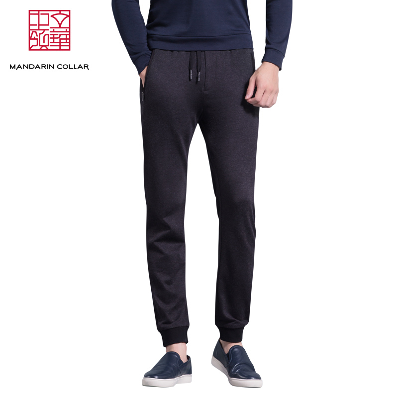<> Chinese collar slim thin section sports pants men shut loose pants fall straight trousers casual pants feet beam