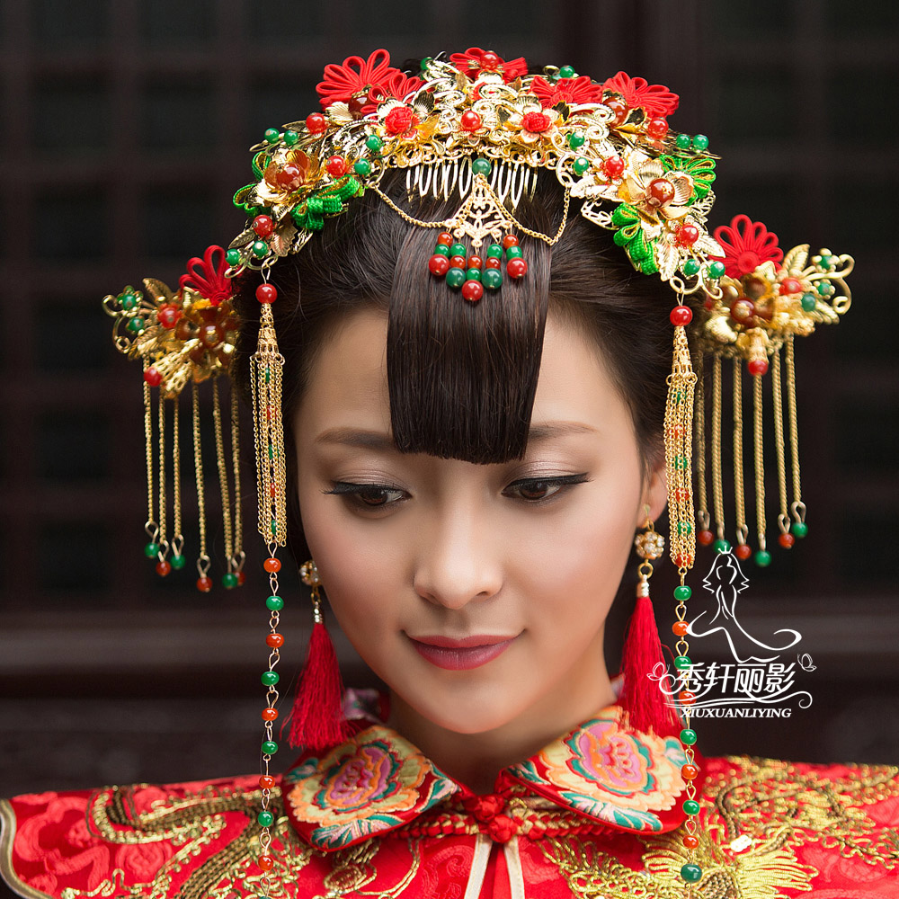 Chinese dress costume headdress hair accessories xiu clothing chinese vintage wedding dress bride coronet costume step shake accessories