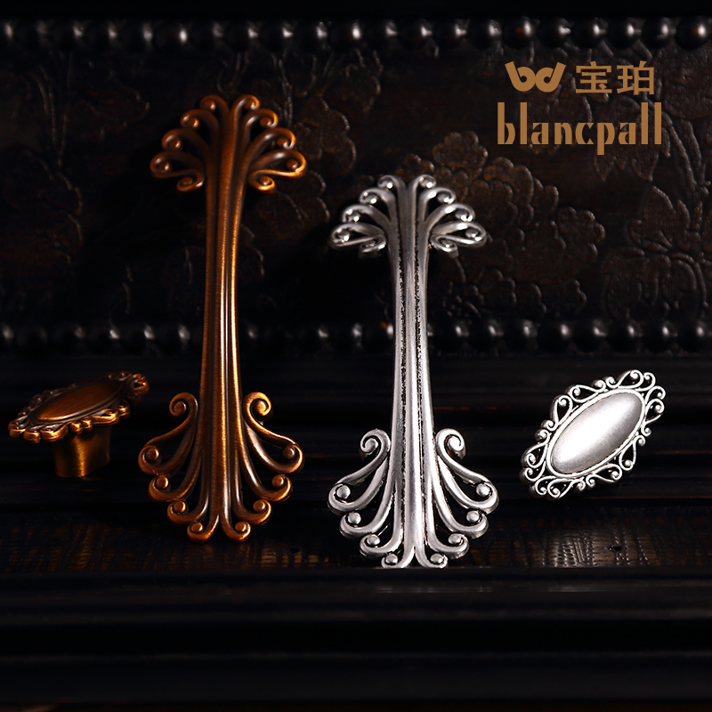 Chinese garden ancient silver retro wardrobe cabinet drawer handle small metal handle european antique wine cabinet door handles