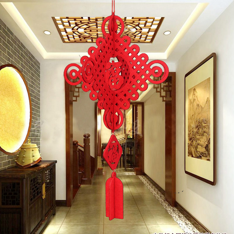 Chinese knot large chinese knot pendant ornaments new year spring festival home decoration living room pendant li body felt cloth