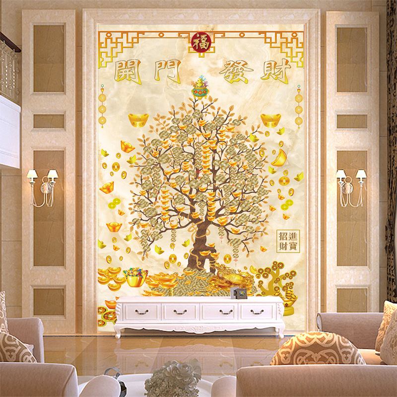 Chinese large mural paintings entrance living room tv sofa wallpaper background wallpaper wall covering wall covering wallpaper