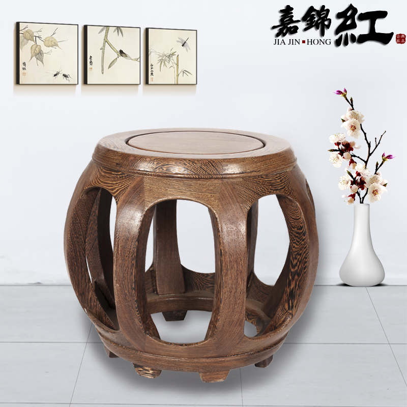 Chinese mahogany furniture wenge wood small stool stool wood pier pier pier wenge wood round drum stool stool wooden bench