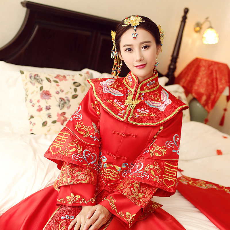 Chinese wedding bride wedding toast clothing hi clothing xiu clothing cheongsam gown dragon dress vintage wedding dress 2016 spring and summer