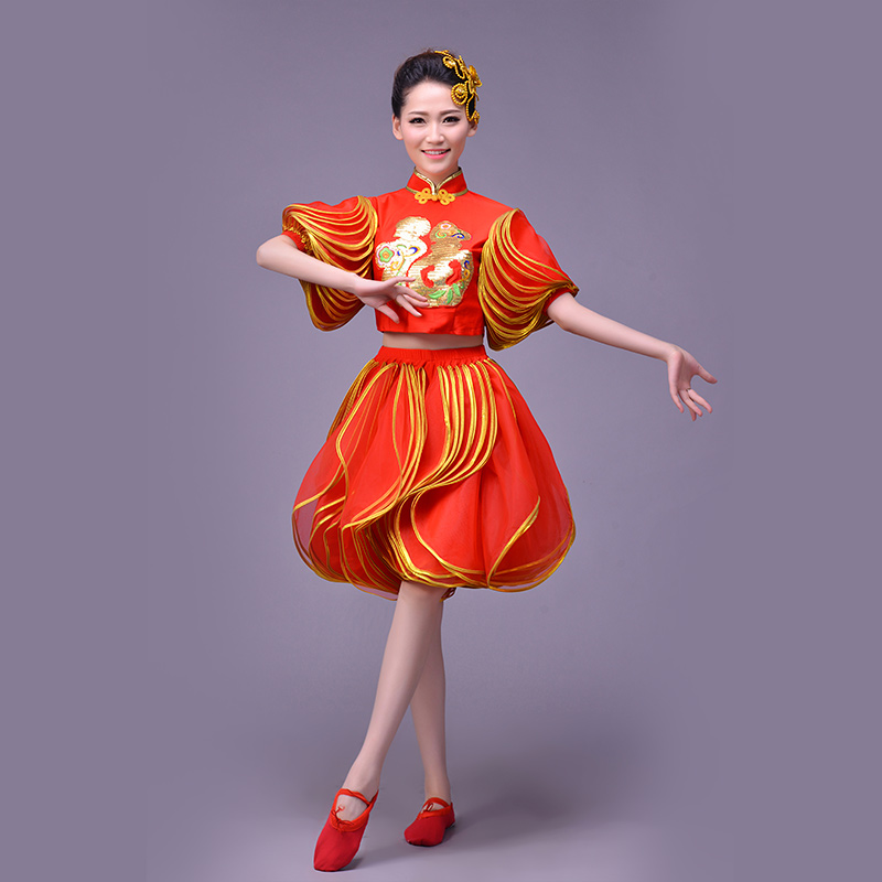 Chinese wind classical dance modern dance costume costumes puff short paragraph festive blessing word square dance clothing