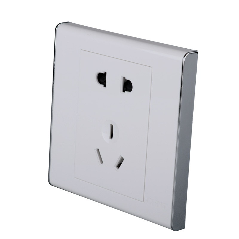 Chnt chint type 86 v white porcelain 10 mounted switch socket package five hole socket wall switch free shipping