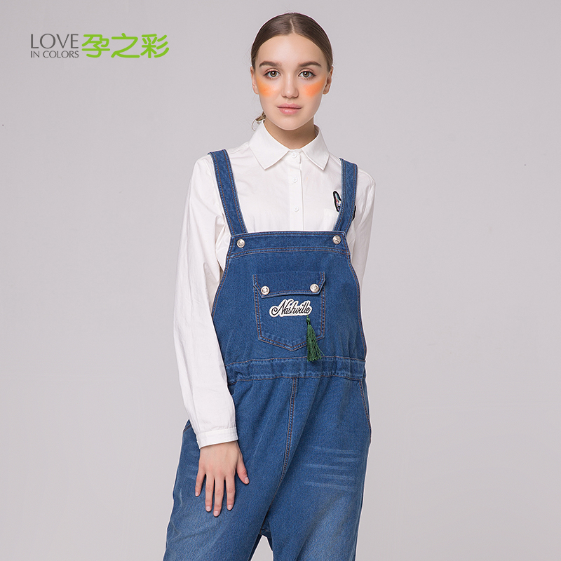 Choi pregnant pregnant autumn maternity denim overalls in pregnant women pregnant women overalls korean fashion prop belly pants outer wear pants