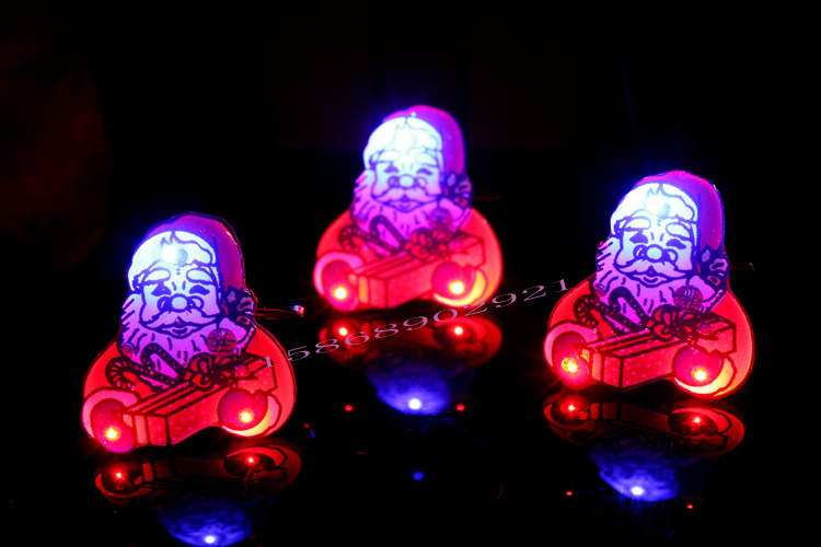Chong cheng electronics christmas luminous flash badge brooch small gift cross party decorations