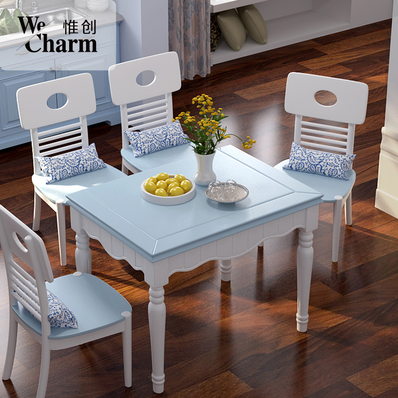 Chong wei american country small apartment telescopic folding table dinette combination of minimalist modern mediterranean