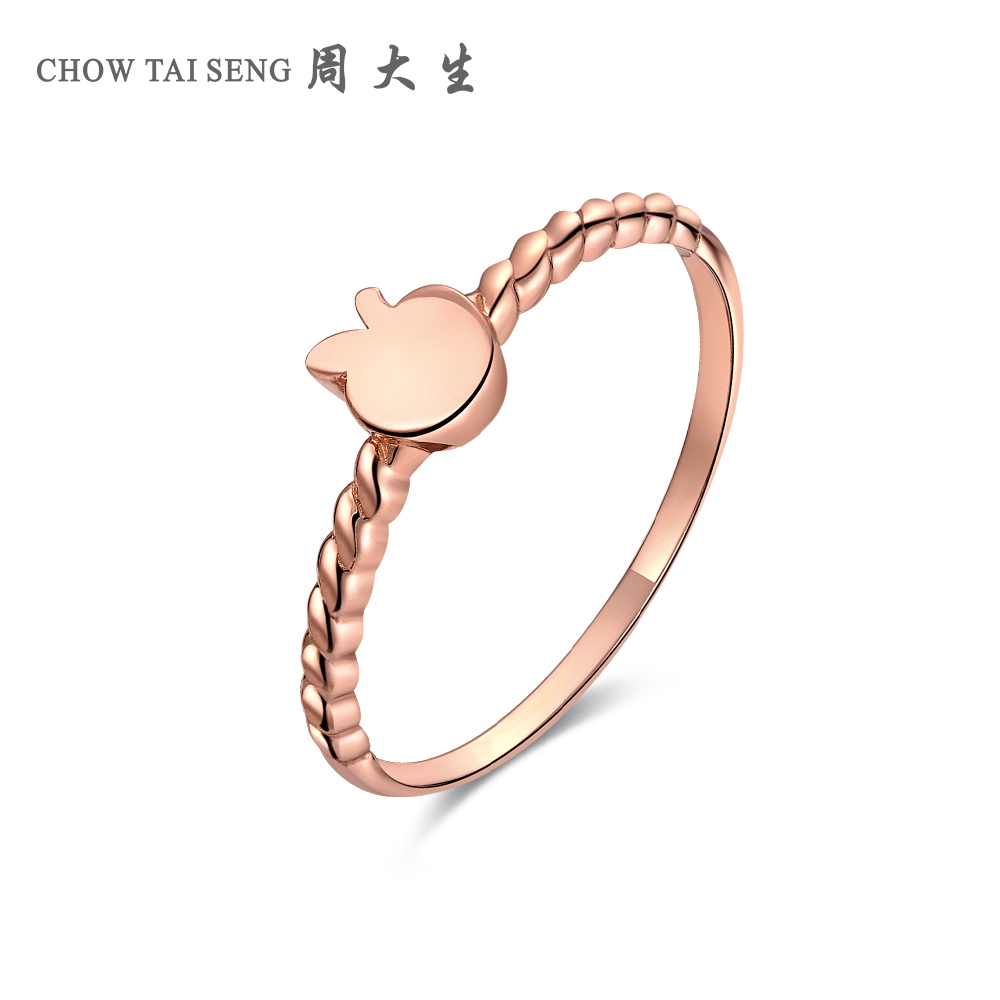 Chow tai seng k gold rose gold color gold ring nvjie new authentic ring to send his girlfriend cute apple