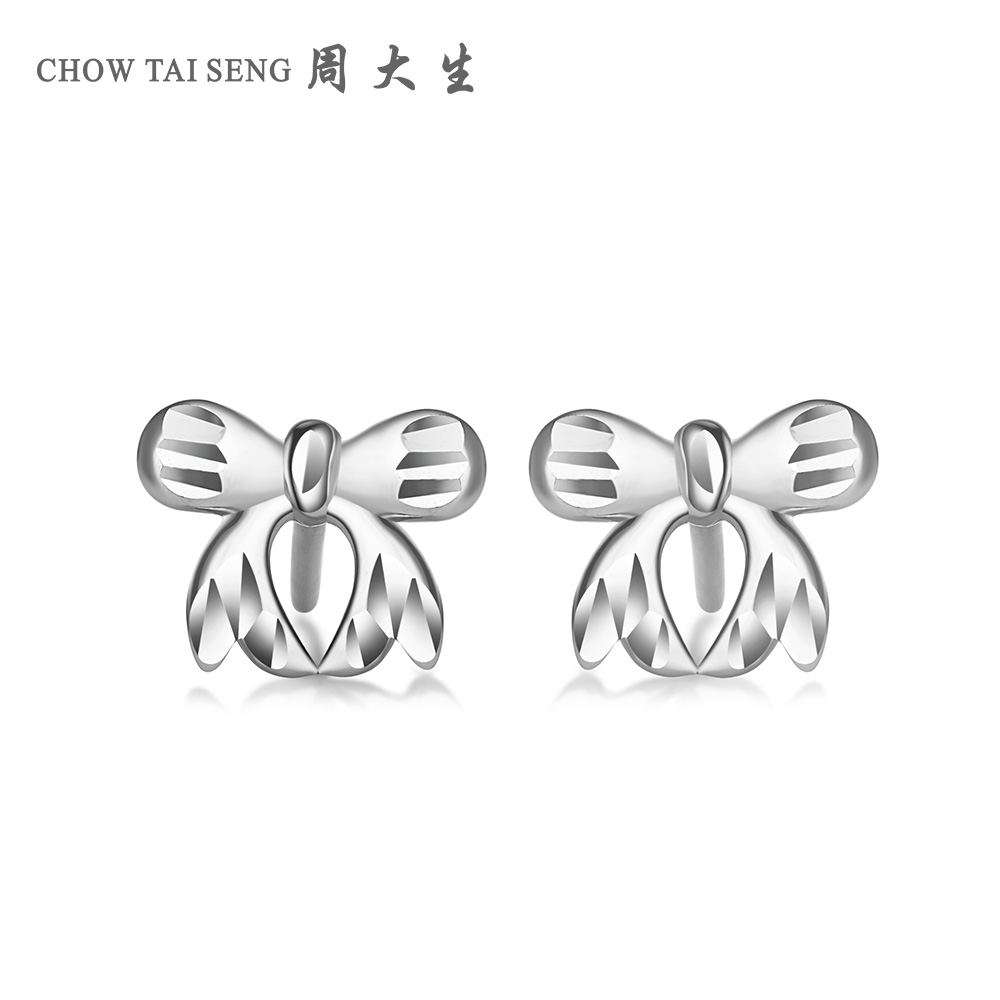 Chow tai seng pt950 platinum platinum earrings flower cars imitation diamond bow earrings female models new spring and summer