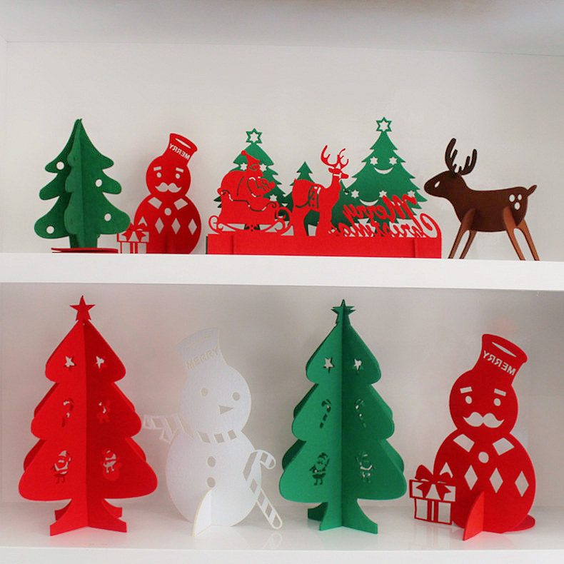 Christmas arrangement of desktop mini christmas tree ornaments christmas decorations santa snowman elk