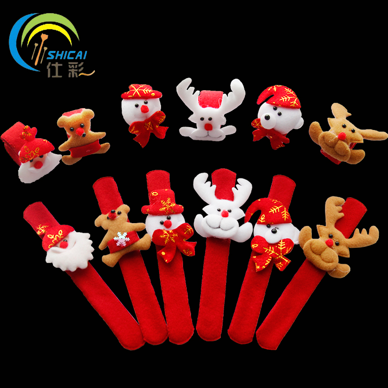 Christmas decorations christmas pat circle bangle bracelet snowman elk christmas old man doll toy hand clap clap ring pops