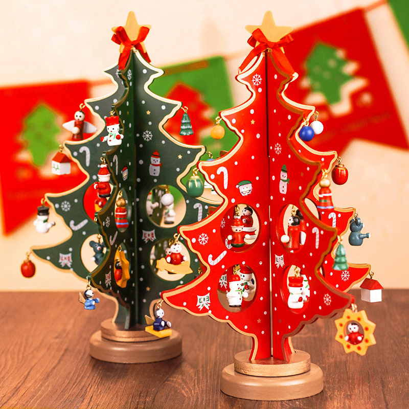 Christmas decorations creative desktop wooden crafts wooden christmas tree ornaments christmas decorations gift